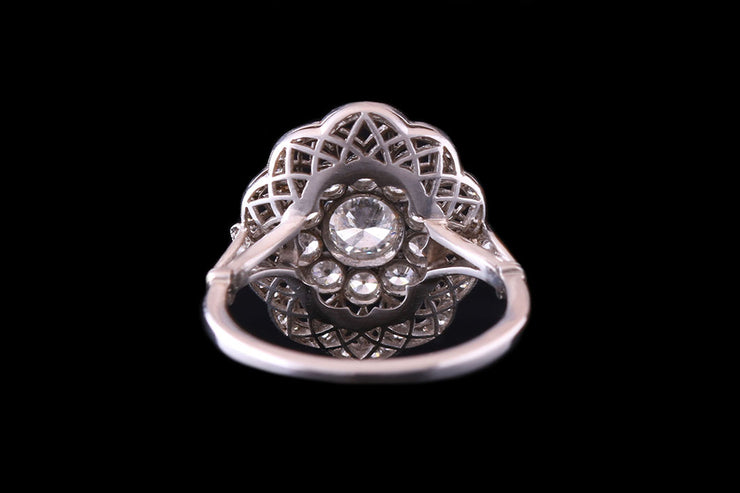 Platinum Diamond Cluster Ring with Fretwork Surround