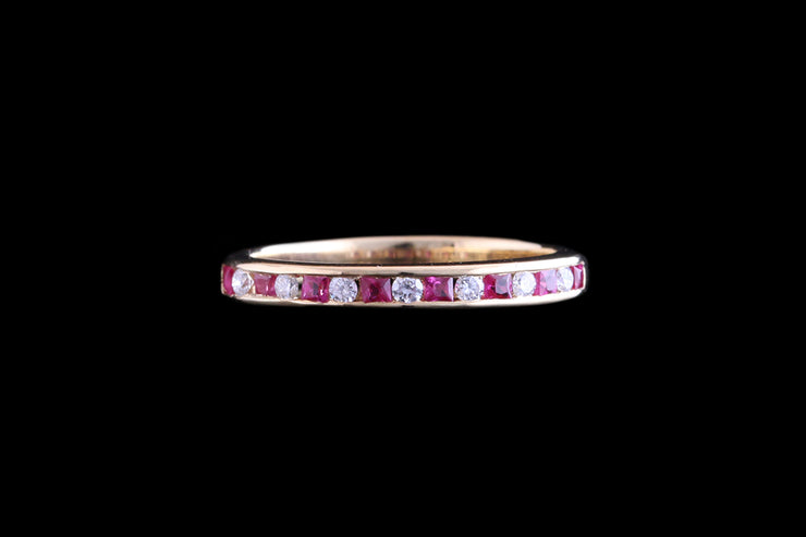 18ct Yellow Gold Diamond and Ruby Half Eternity Ring