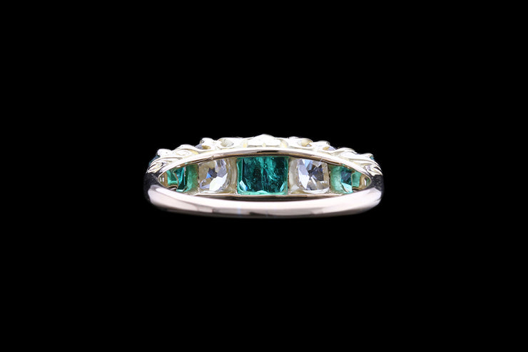 Victorian 18ct Yellow Gold Diamond and Emerald Five Stone Ring