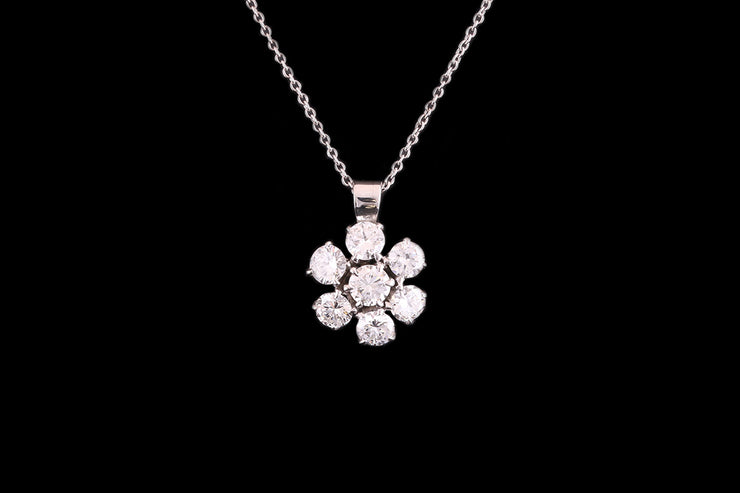 18ct White Gold Diamond Flower Cluster Pendant