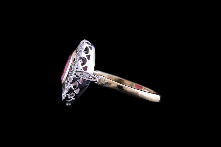 18ct Yellow Gold and White Gold Diamond and Ruby Cluster Ring