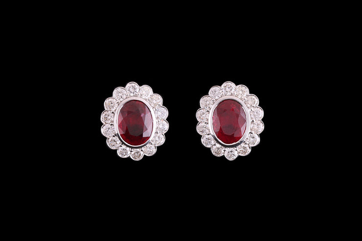 18ct White Gold Diamond and Ruby Oval Cluster Stud Earrings