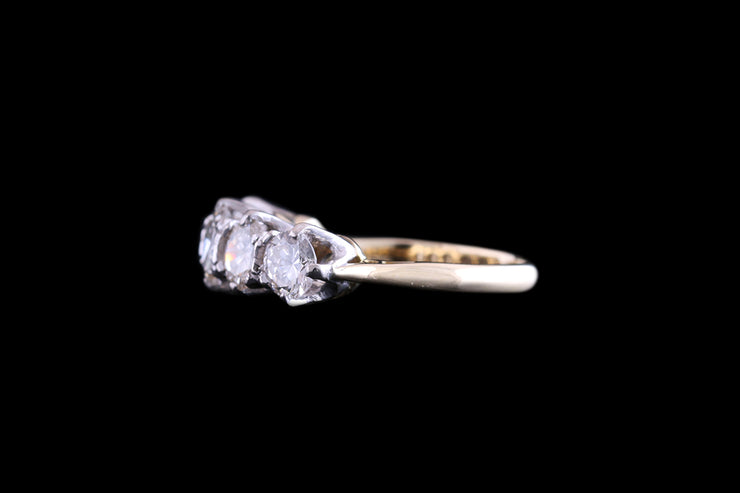 18ct Yellow Gold and White Gold Diamond Five Stone Ring