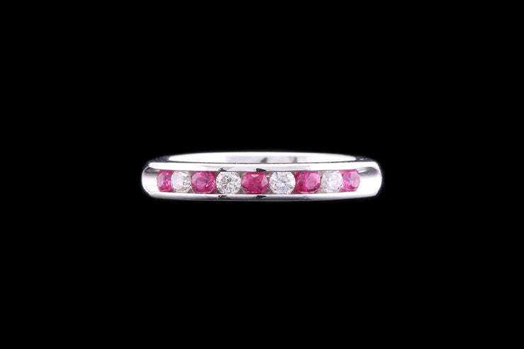 18ct White Gold Diamond and Pink Sapphire Half Eternity Ring