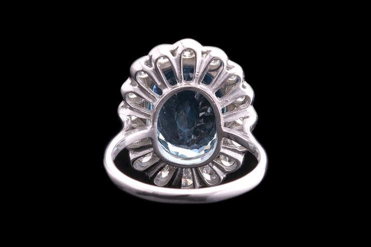 18ct White Gold Diamond and Aquamarine Oval Cluster Ring