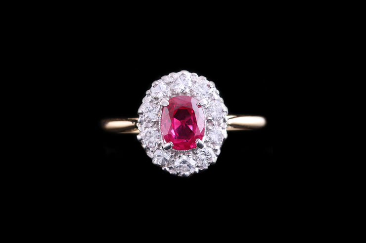 18ct Yellow Gold and Platinum Diamond and Burma Ruby Cluster Ring