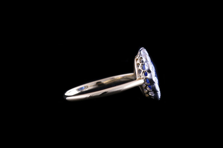 Edwardian 18ct Yellow Gold and Platinum Diamond and Sapphire Oval Cluster Ring