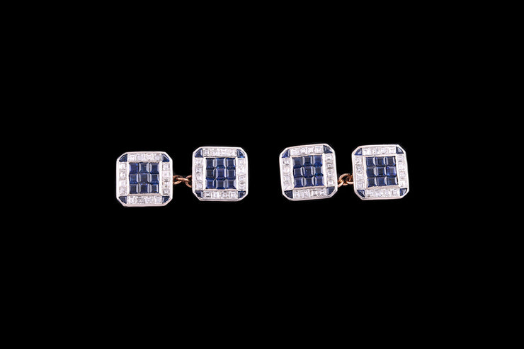 18ct Yellow Gold and White Gold Diamond and Sapphire Square Cufflinks