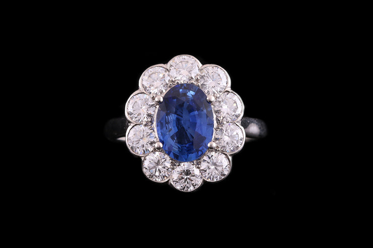 Platinum Diamond and Sri Lankan Sapphire Oval Cluster Ring