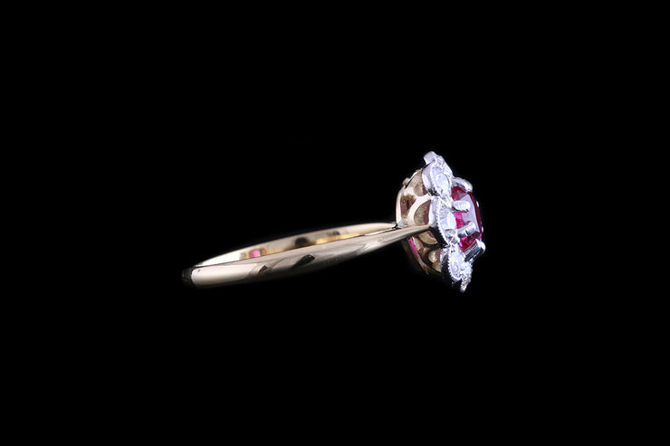 Edwardian 18ct Yellow Gold and Platinum Diamond and Burma Ruby Cluster Ring