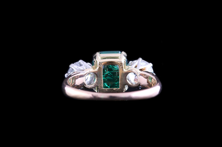 18ct Yellow Gold and White Gold Diamond and Colombian Emerald Three Stone Ring