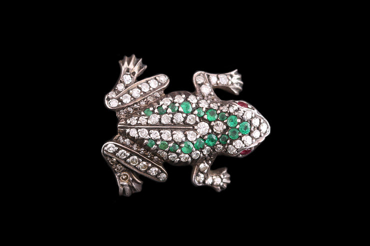 Victorian 18ct Yellow Gold and Silver Diamond and Emerald Frog Brooch
