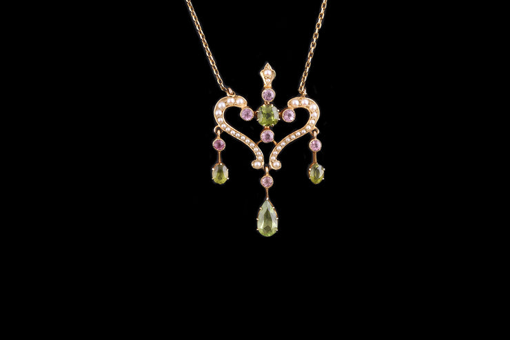 Victorian 15ct Yellow Gold Pearl, Peridot and Pink Topaz Pendant