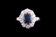 Art Deco 18ct Yellow Gold and Silver Diamond and Sapphire Oval Cluster Ring with Diamond Shoulders