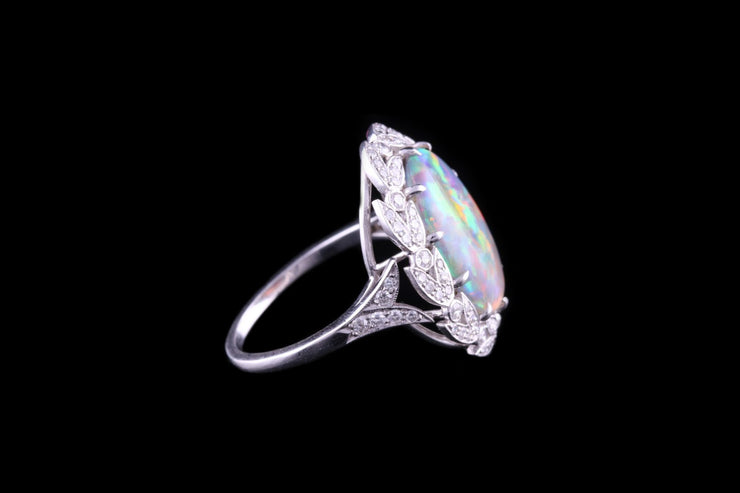 Platinum Black Opal and Diamond Dress Ring