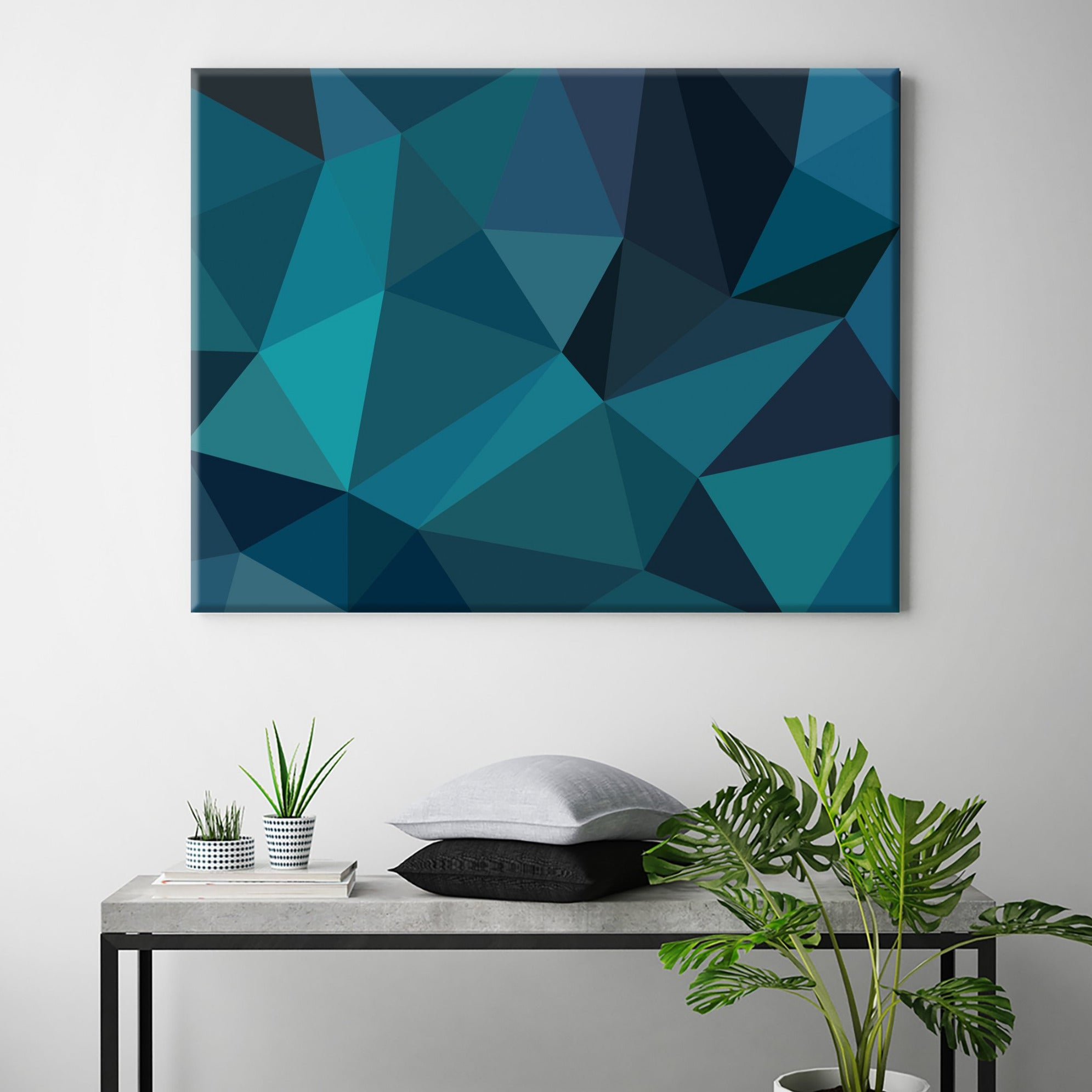 Broken Glass Canvas in Teal