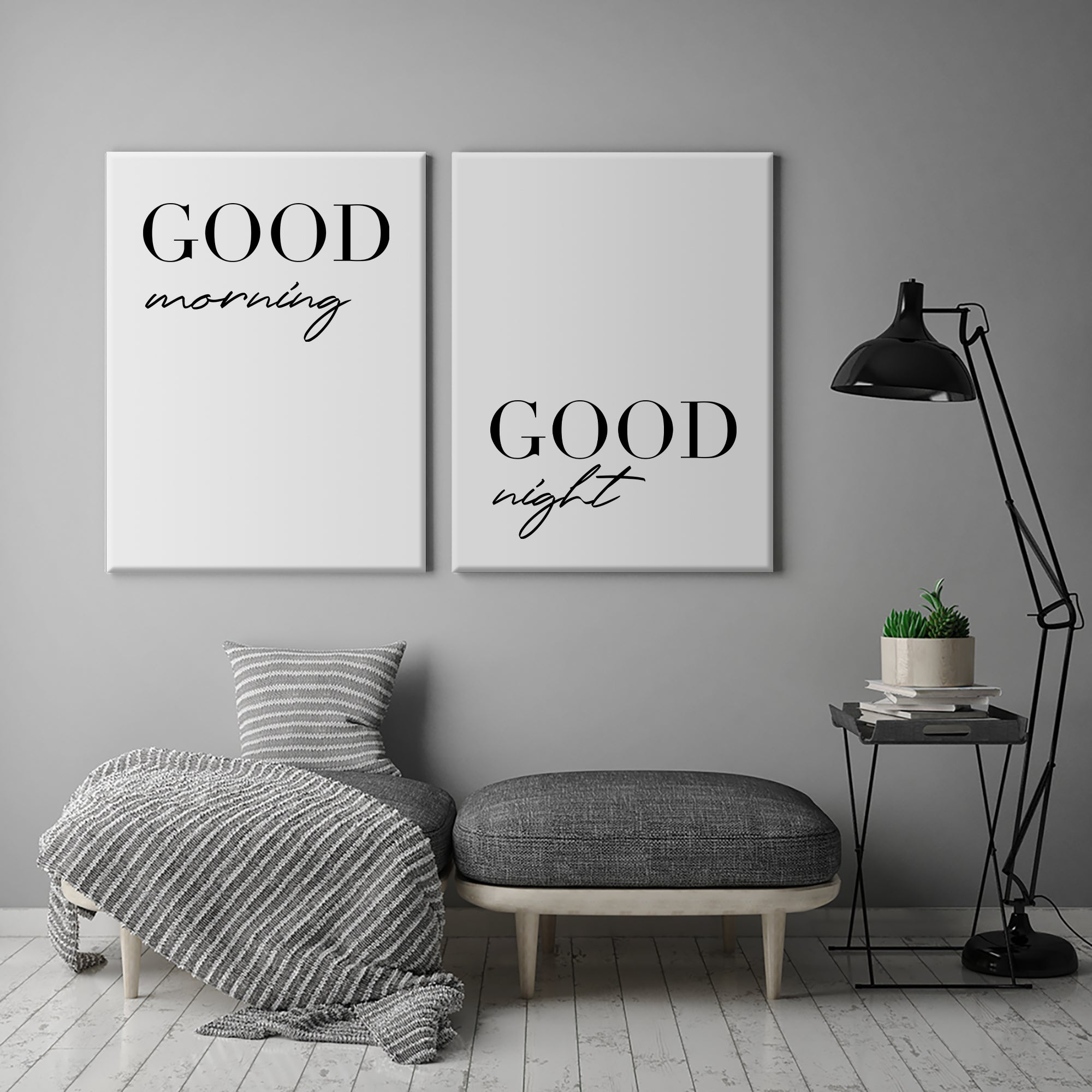 Good Morning & Good Night Canvas Set