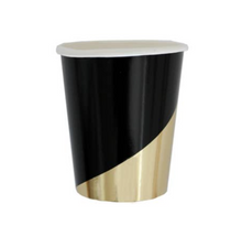 Load image into Gallery viewer, Black Colorblock Paper Cups (set of 8)