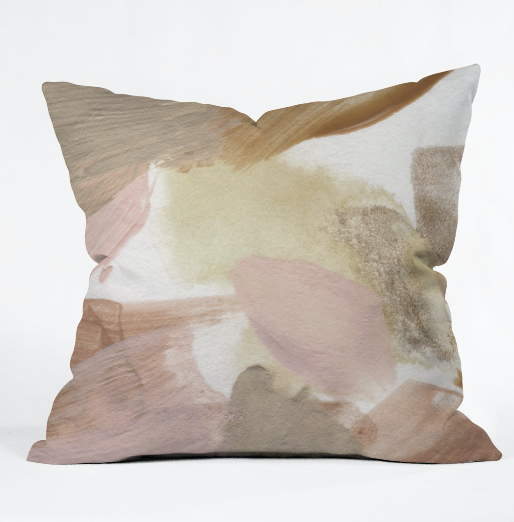 Taupe Watercolor Throw Pillow