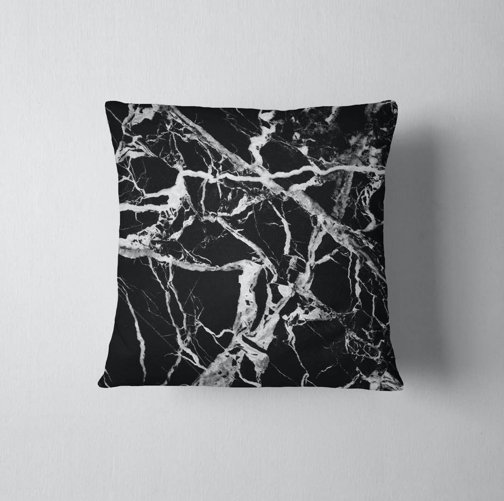 Black Marble Pillow Cover