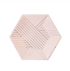 Pink Striped Small Paper Plates