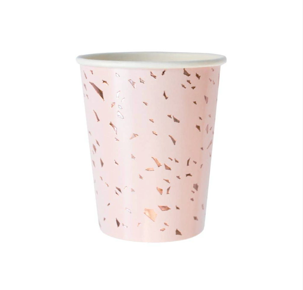 Pale Pink Confetti Paper Cups (set of 8)