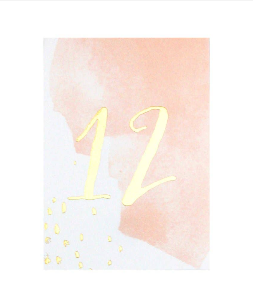 Peach Watercolor Paper Table Numbers (11-20)