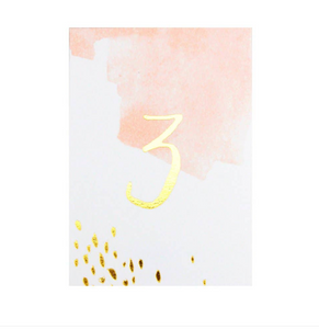 Peach Watercolor Paper Table Numbers  1-10