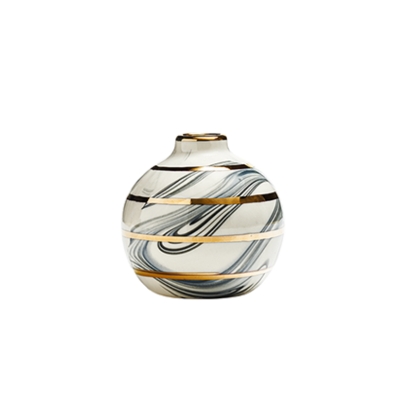 Round Bud Vase - Black Marbling + Gold Stripes