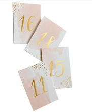 Load image into Gallery viewer, Peach Watercolor Paper Table Numbers (11-20)