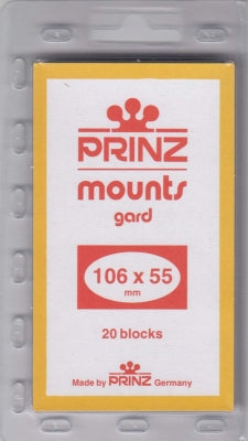 Prinz Stamp Mount 106/55 Pre-Cut Plate Block Black