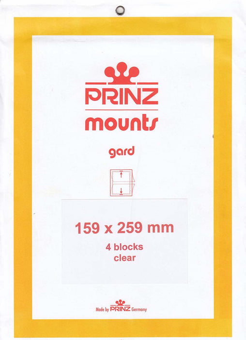 Prinz Stamp Mount 159 x 259 Blocks & Sheetlets Clear