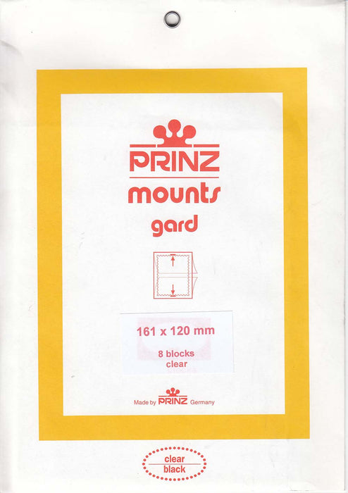Prinz Stamp Mount 161 x 120 Blocks & Sheetlets Clear
