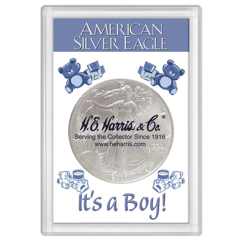 "American Silver Eagle ""It's A Boy!"" Frosty Case 2x3"