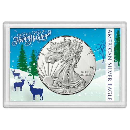 American Silver Eagle Happy Holidays Frosty Case 2x3 Deer