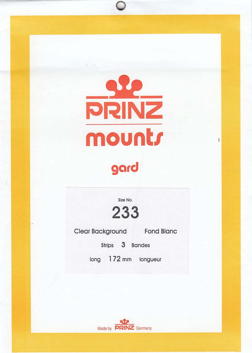 Prinz Stamp Mount 172 x 233 Blocks & Sheetlets Clear