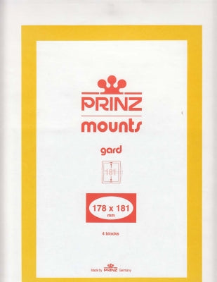 Prinz Stamp Mount 178 x 181 Blocks & Sheetlets Clear