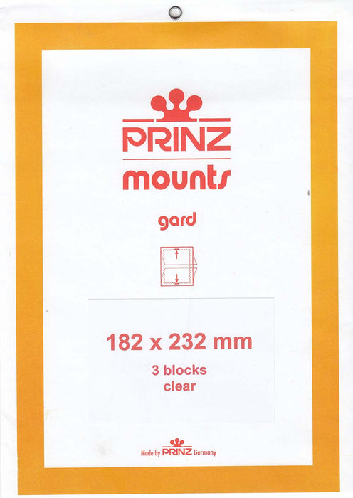 Prinz Stamp Mount 182 x 232 Blocks & Sheetlets Clear