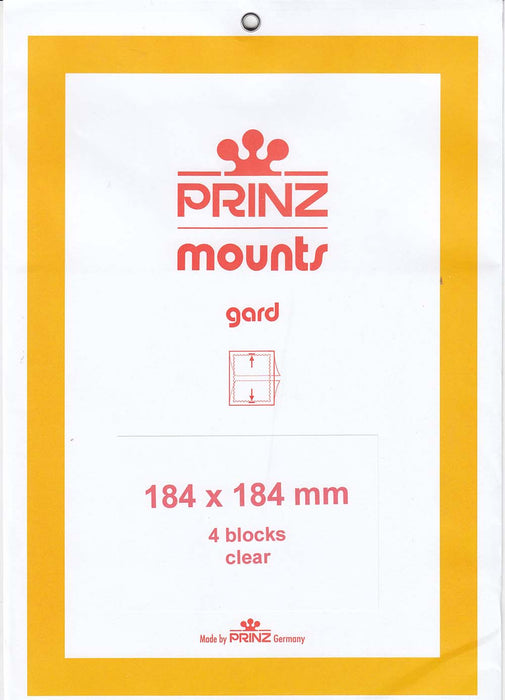 Prinz Stamp Mount 184 x 184 Blocks & Sheetlets Clear