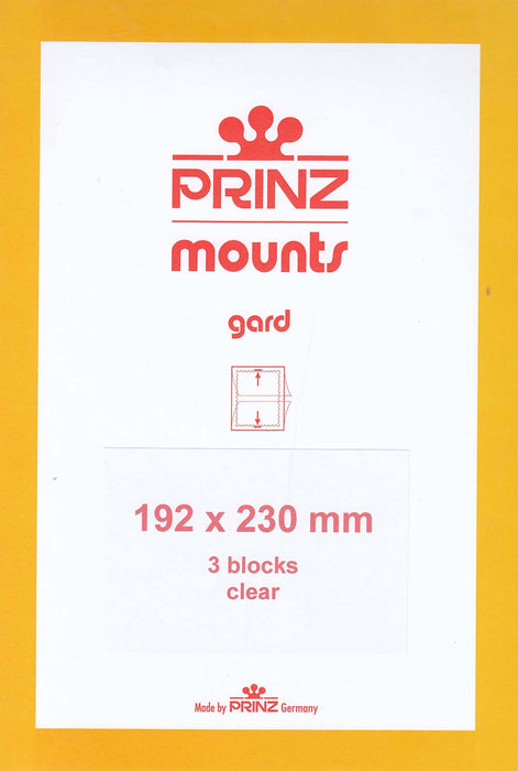 Prinz Stamp Mount 192 x 230 Blocks & Sheetlets Clear