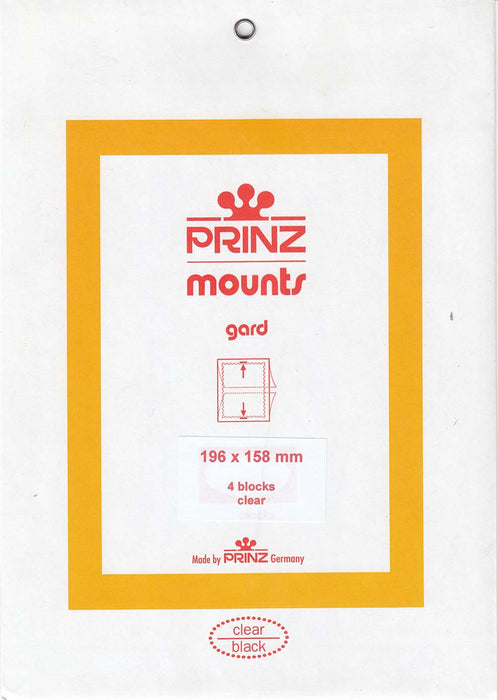 Prinz Stamp Mount 196 x 158 Blocks & Sheetlets Clear