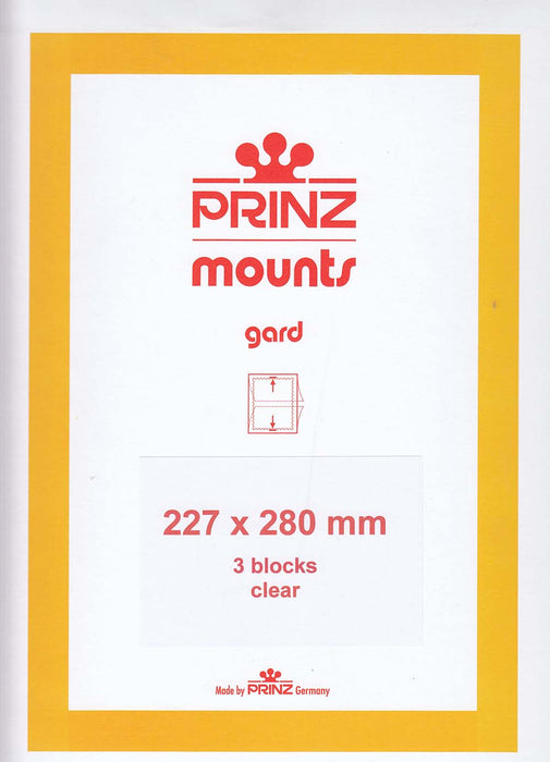 Prinz Stamp Mount 227 x 280 Blocks & Sheetlets Clear