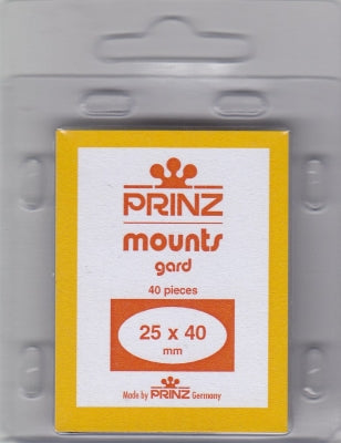 Prinz Stamp Mount 25/40 Pre-Cut Single Clear