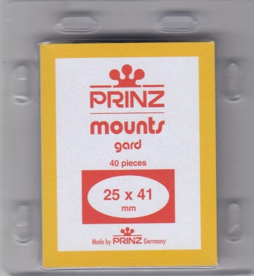 Prinz Stamp Mount 25/41 Pre-Cut Single Clear