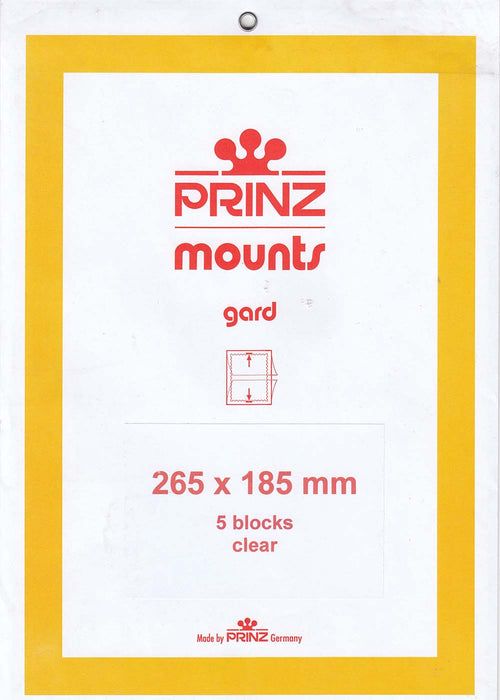 Prinz Stamp Mount 185 265 x 185 mm Strips & Panes Clear