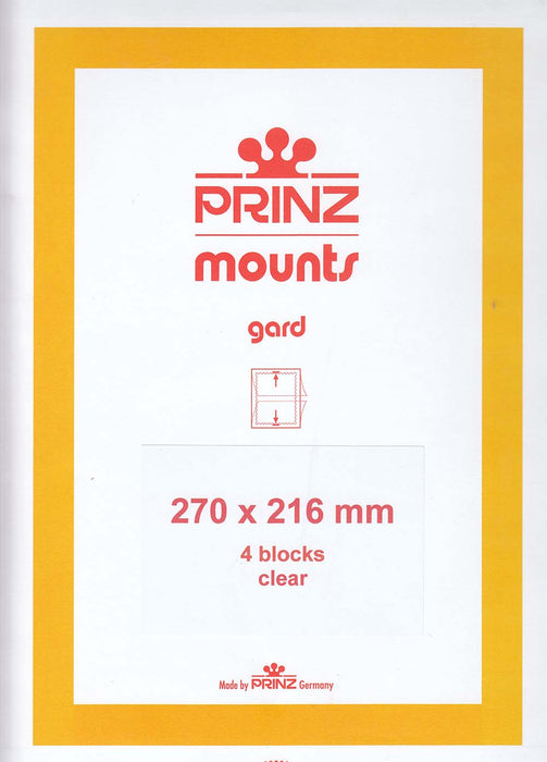 Prinz Stamp Mount 270 x 216 Blocks & Sheetlets Clear