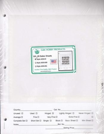 G&K #5 Stamp Sales Sheets (250 Qty)