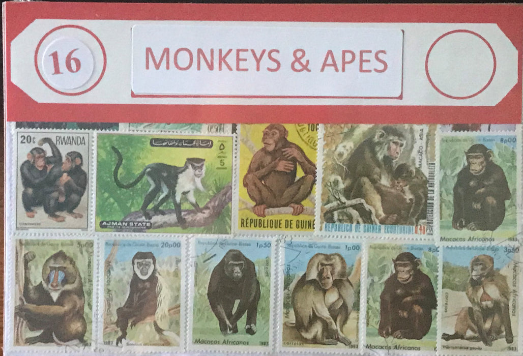 Monkeys & Apes Stamp Packet