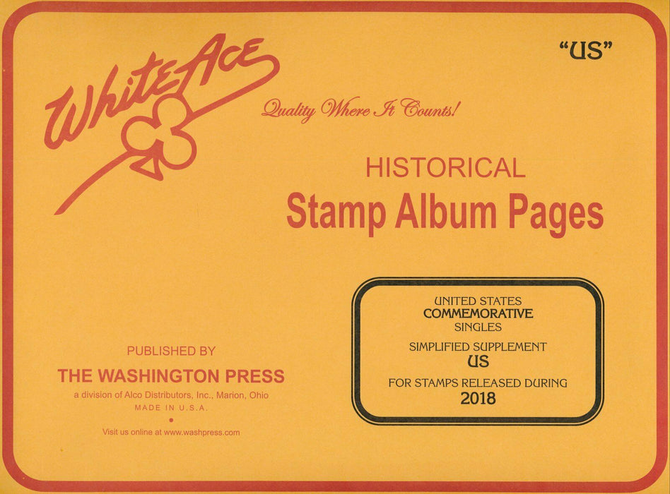 Commemorative Singles Simplified 2018 - US White Ace Supp. Pages.