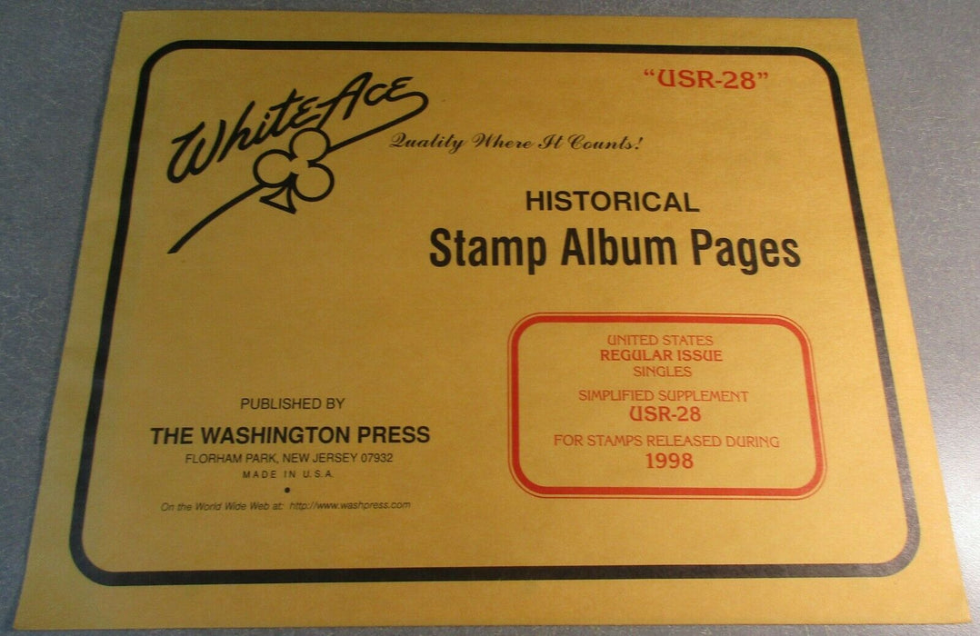 USR28 Reg. Issues Singles Simplified - 1998 White Ace Supp. Pages.
